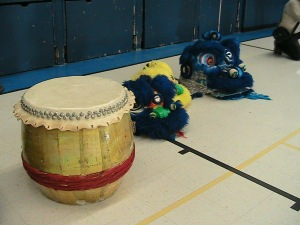 Prepping for Lion Dance Practice.