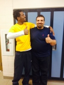 Friendly relationship between custodian and FOY worker, Joshua Reid.