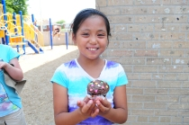 Happy camper with her cupcake!