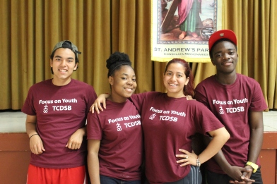 The entire staff from left to right: Jacob, Brihana, Joceline and Hughes