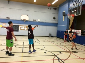 Campers practicing their shots
