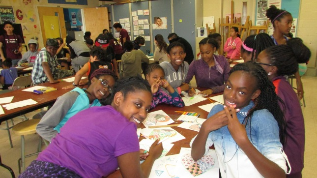 Arts campers having a good time
