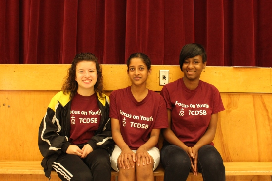 Focus on Youth staff [left to right] Meghan Hannigan, Christine Peiris and Lanique Farell are having fun at Boys and Girls Club!