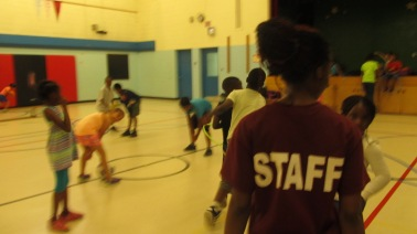 FOY staff playing with the campers