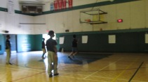 Campers playing basketball during their break