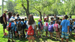 The campers are about to go play at High Park's castle
