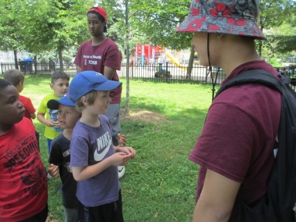 Kevin making friends with the campers