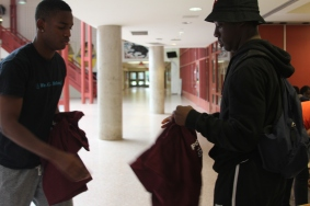 Focus On Youth Staff receiving their uniforms for the summer.