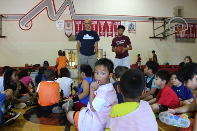 Campers in their morning circle. Thanks Coach for the motivation!