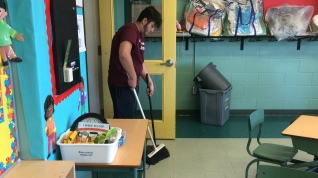 Each day he ensures that the classrooms are in tip-top shape for the coming school year