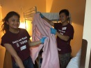Dana and Kevin with a pink blanket