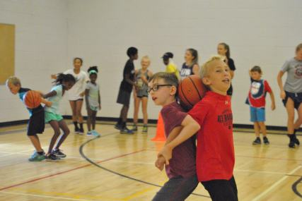 Campers racing to win in this fun relay race.