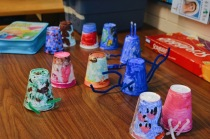 Arts and crafts made by the campers earlier that day.