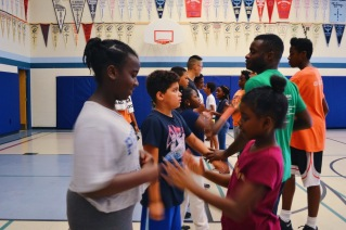 Campers learning some self-defense moves.