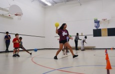 FOY staff and campers playing a game of Doctor Dodgeball.
